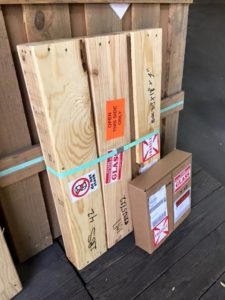 Small wood crate for UPS shipping of smaller orders of glass. (Very sturdy).