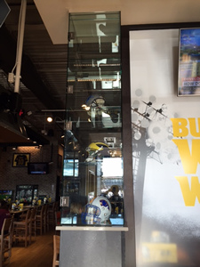Buffalo Wild Wings UV bonded glass display case
